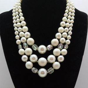 Vintage Moonglow Triple Strand Choker Necklace